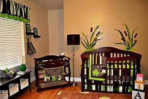 DK Leigh Nursery Crib Bedding Set, Frog, 10 Count, Green/Brown/Lime Green/White