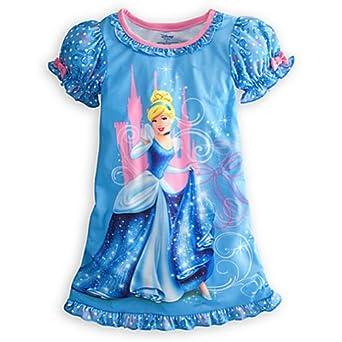 Disney Princess Cinderella Nightshirt Nightgown Pajamas Blue Pink (M 7-8 Medium)