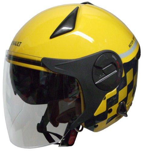 FS-JAPAN 【石野商会】 ルノー Wシールドジェットヘルメット イエロー/グレー RN-999W