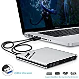 USB 3.0 Blu-ray Disc Player, External CD-RW/DVD-RW Reader&Burner Drive Combo External ODD Device with 2 USB Cables for Macbook Pro Air or Other Windows PC Laptop/Desktops