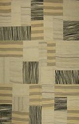 Meva Kilim Collection Hand-Woven Rug, 8-Feet by 11-Feet, Natural