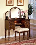 Cherry Brown Finish Wood Vanity Set by Acme Furniture