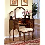 3pcs Ashton Walnut Finish Vanity Table with Stool Set