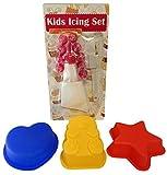 4 Piece Kids Baking Set - 11 Piece Decorating Kit and 3 Silicone Baking Pans