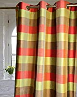 Olive,Red Brown plaids grommets/eyelets lined living room window curtain panel