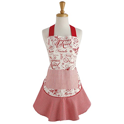 DII 100% Cotton, Holiday Women Cute Ruffle Apron, Kitchen Basic, Adjustable Neck & Waist Ties, Cooking, Baking, Crafting and More, Christmas Gift - Vintage Christmas