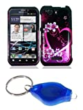 Purple Heart and Flowers Design Hard Case + ATOM LED Keychain Light for Motorola Photon Q 4G LTE (Sprint)