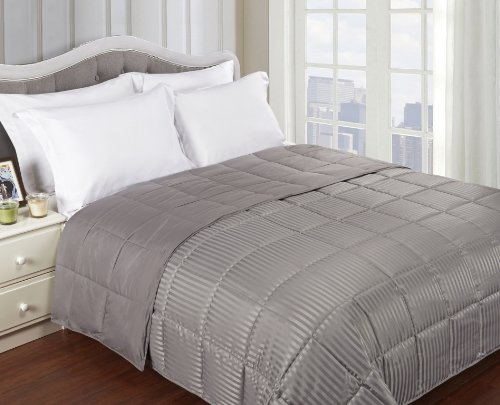 Grand Down All Season Down Alternative King Reversible Blanket, Grey front-699803
