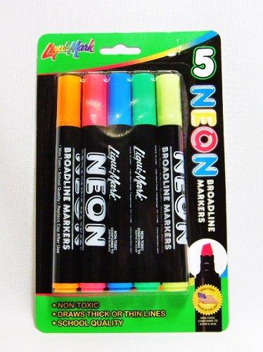 5 Neon Broadline Watercolor Markers - 1