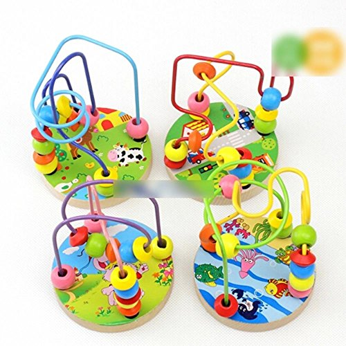 HuntGold 1X Baby Kids Wooden Around Beads Maze Intellect Educational Toy Christmas Gift(Random)