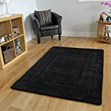 Stylish Solid Black Thick Border Design Non Shed Luxury Wool Rug 4 Sizes Available Elements
