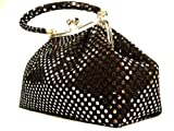 HANDBAG Tube Metallic Black Dot - WiseGloves TOTE PURSE CLUTCH DRESS HANDBAG