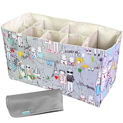 Kilofly-Borsa per pannolini, colore: grigio e ben organizzata, combinata ad una stuoia imbottita per cambiare i pannolini