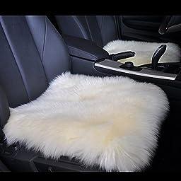 18 Inch Luxurious Genuine Sheepskin Wool Car Seat Cushion Fur Covers Chair Pad (For car, office chair, or plane) (White)