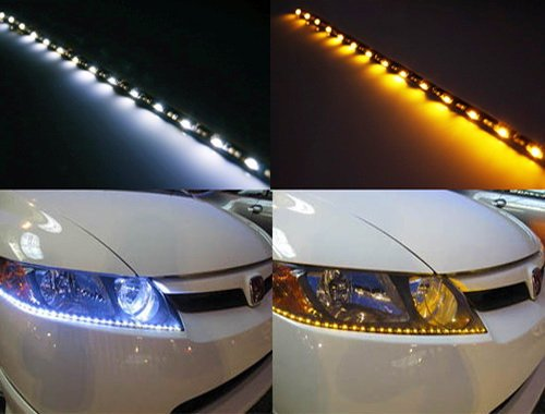 (2) iJDMTOY 20 inches 60-SMD White/Amber Switchback Side Glow R8 Style LED Strip Lights For Headlights or Daytime Running Lights (Audi Style Led Running Lights compare prices)