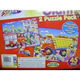 GRAFIX GIANT 2 JIGSAW PUZZLE PACK. FIRE ENGINE & TIPPER
