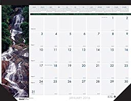 House of Doolittle 2016 Monthly Desk Pad Calendar, Earthscapes Waterfalls, 22\