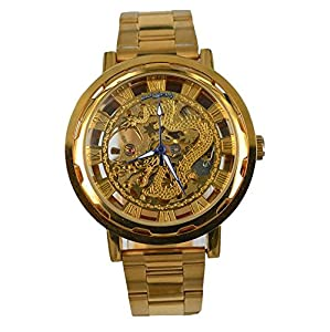 Gift In Box Gold Dragon Skeleton Dial Stainless Steel Strap Atomatic Mechanical Men's Watch G8118-05