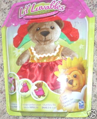 Lil Luvables Fluffy Factory Bear Wear Red Flower Outfit - 1