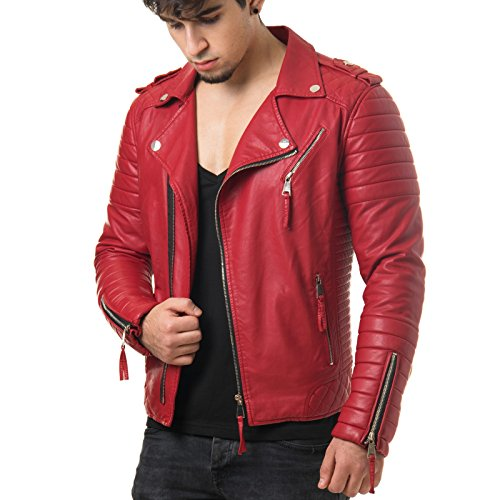 Prestige Homme MR18-4da uomo giacca similpelle biker giacca trapuntata Nero Rosso Camouflage, S-XXL Rot m