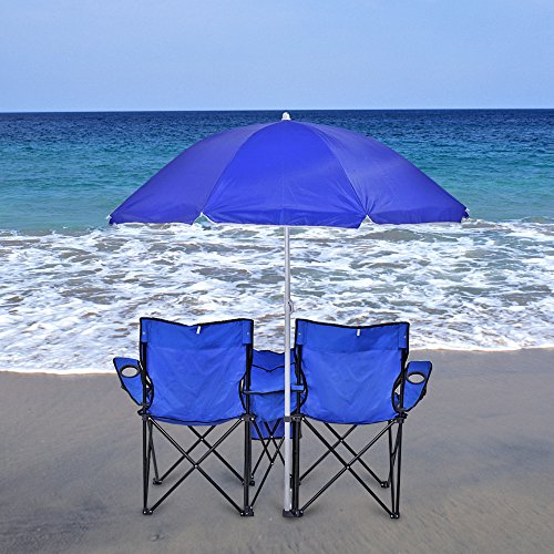 Double Folding Chair With Removable Umbrella Table Cooler Bag Fold Up Steel C