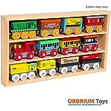 Orbrium Toys 12 Pcs Wooden Engines & Train Cars Collection fits Thomas, Brio, Chuggington