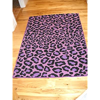 Girls Bedroom Decor Purple Leopard Animal Print Throw Rug Teen R