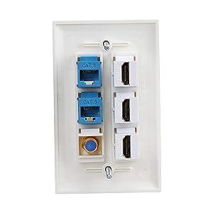 3 HDMI Keystone Wall Plate,PHIZLI Cat 6 Keystone Coax Cable TV F Type Wall Plate Female-Female Faceplate (Tamaño: 3hdmi-2cat6-coax)