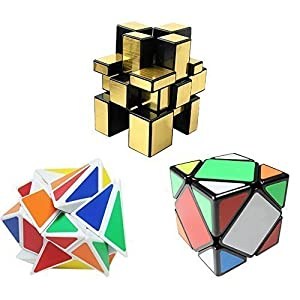 Popular Magic Cube Set - Included Fluctuation Angle Puzzle Cube - MoYu Skewb Speed Magic Cube Puzzle Black - 3x3 Mirror Magic Cube Golden Color