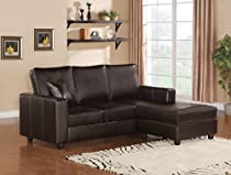 Big Sale 2pc. Reversible Chaise Sectional Sofa Espresso Bonded Leather Match Finish