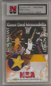 Kobe Bryant/LeBron James Dual Jersey Authentic NSA cut card serial