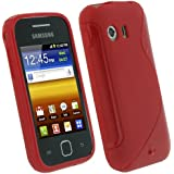 igadgitz Rojo Case TPU Gel Funda Cover Carcasa para Samsung Galaxy Y S5360 + Pantalla Protector