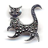 Sterling Silver Marcasite Cat Brooch ~ Women Want Jewelry