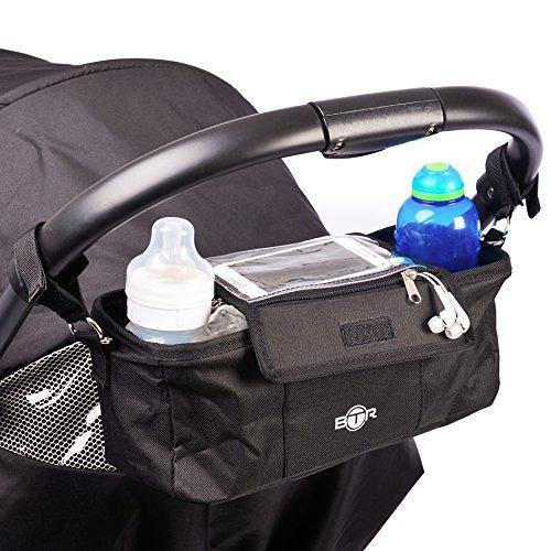 BTR Organizer da passeggino /carrozzina, Borsa da viaggio con portacellulare e copertura per la pioggia - Nera - Resistente all'acqua