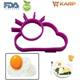 KARP™ Set Of 2 Sun Shape Silicone Fried Egg Mold Pancake Rings, Non Stick Bakeware Accessories Kitchen Tools,...