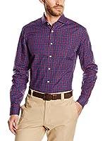 Hackett London Camisa Hombre Burg Check (Azul / Vino)