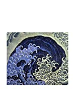 ARTE E TESSUTI by JAPAN MANIA by MANIFATTURE COTONIERE Panel Decorativo Hokusai-Feminine Wave (Azul/Multicolor)