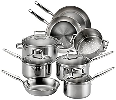 T-fal E469SC Tri-Ply Stainless Steel Multiple Layer Cookware Set, 12-Piece, Silver