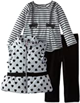 Nannette Baby-Girls Infant 3 Piece Stripped Heart Vest with Shirt and Pant, Gray, 18 Months