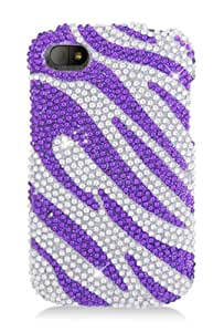 HHI Full Diamond Graphic Case for BlackBerry Q10 - Purple Zebra (Package include a HandHelditems Sketch Stylus Pen)