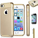 iPhone 5 5s Case, Limecase® [NGS Series] Slim Shockproof Case fit for iPhone 5 5s Hard Rugged Ultra Protective Back Rubber Cover with Dual Layer Impact Protection for iPhone 5 5s (Gold)