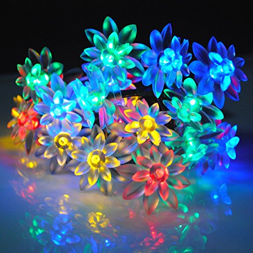 Cvlife 5M 20 Led Blossom Solar Fairy String Lights Multicolor For Outdoor Garden, Home, Christmas, Party, Wedding