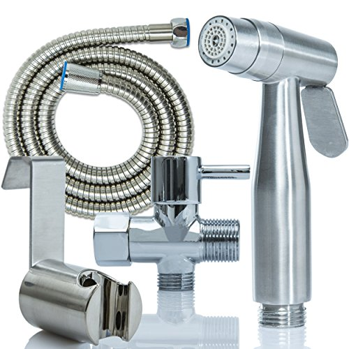 FitEat Handheld Bidet Sprayer | Corrosion Resistant Stainless Steel Cloth Diaper Sprayer & Ergonomic Handle | For Kitchen Faucet, Toilet Seat, Kids, Pets, Bathroom Floors, Sinks & More | Bonus Ebook (Shower Head Shut Off Value compare prices)