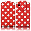 PU Leather Flip Case Cover For Blackberry 8520 9300 Curve 3G / White Polka Dots Spots Red