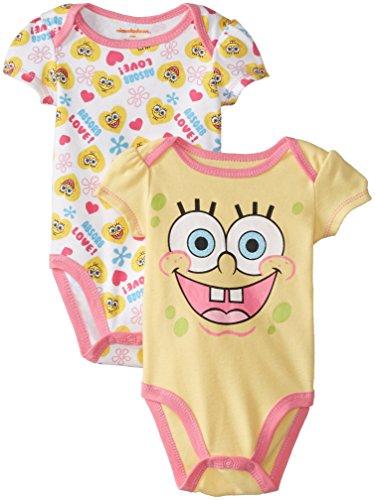 Nickelodeon Baby Baby-Girls Newborn Spongebob 2 Pack Bodysuit Set, Yellow, 6-9 Months front-993670