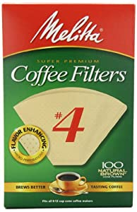 Melitta Cone Coffee Filters, Natural Brown, No. 4, 100-Count Filters (Pack of 6) by Melitta