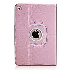 iPad Air 2 Case,Thankscase Rotating Case Cover for Ipad iPad Air 2 with Wallet Pocket with Hand Strap with Auto Sleep / Wake for iPad Air 2 2014.(Rose Gold B)