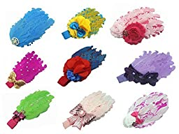 Pack of 9 Viskey Lovely Cotton Girls Baby Headbands,Feather