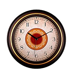 SonYo Silent Non-ticking Round Contemprary Wall Clocks (12 Inches) Decorative Vintage Style,GoldenEdge