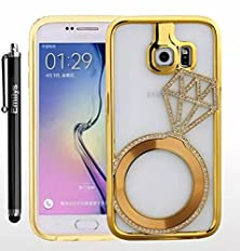 buy S5 Case,Fusicase Samsung Galaxy S5 Case,Fusicase Fashion Style New Ultra Thin Bling Diamond Metal Bumper Ring Pattern Back Case Cover For Samsung Galaxy S5(Gold)